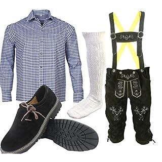 ALL THE GOOD S 2 Trachtenset (Hose +Hemd +Schuhe +Socken) Bayerische Lederhose Trachtenhose Oktoberfest Leder Hose Trachten (Hose 48 Hemd 36/37)