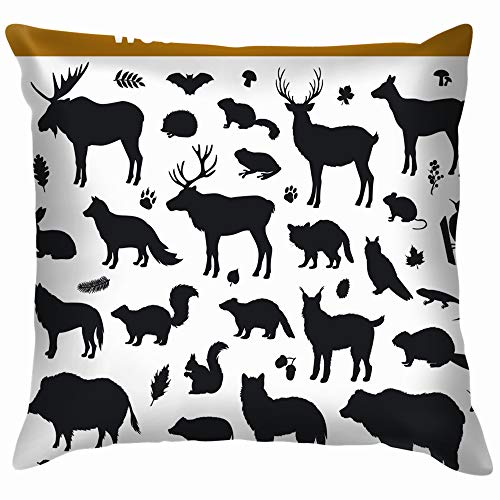 beautiful& Woodland Forest Leaves Collection Including Deer Animals Wildlife Animal Cotton Linen Home Decorative Throw Pillow Case Cushion Cover for Sofa Couch 18X18 Inch (Cartoons Chipmunks Halloween)