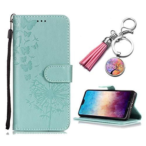 Samsung Galaxy S3 Hülle Löwenzahn Schmetterling hellgrün Flip Case Magnetverschluss Ledertasche Bookstyle Wallet Cover +Damen Leder Quaste Charme Schlüsselanhänger