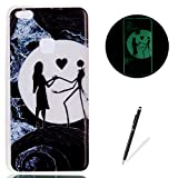 Huawei P10 Lite Case Luminous Silicone Cover [with Free Black Touch Stylus] KaseHom Stylish Watercolor Pattern Design Noctilucent Green Effect Night Glow in The Dark Jelly Clear Rubber TPU Gel Skin Scratch Resistant Flexible Ultra Slim Fit Protective Case Bumper Shell for Huawei P10 Lite - Beauty and Scarecrow