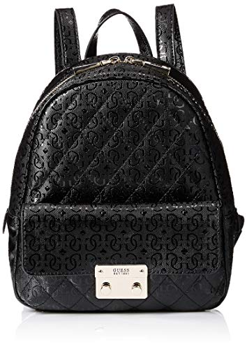 Guess Damen Tiggy Bowery Backpack Rucksack, Schwarz (Black), 11.5x27.5x23.5 Centimeters
