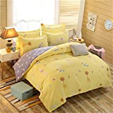 PZJ Bettgarnitur 4-tlg, 1 Bettbezüge, Bettwaesche besteht mit 2 Kissenbezüge aus Microfaser