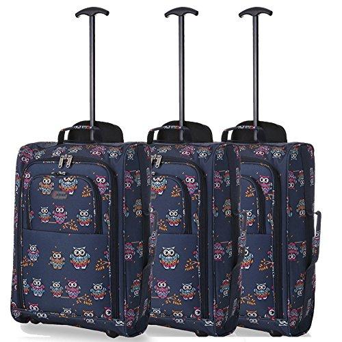 Lot de 3 Super léger de voyage bagages Cabine Valise Wheely Sacs Sac à Roulettes (Owls Navy)