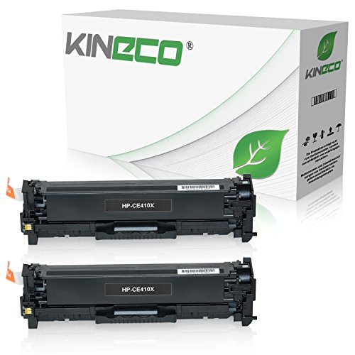 2 Kineco Toner kompatibel zu HP CE410X Laserjet Pro 300 Color M351a, MFP M375nw, Laserjet Pro 400 Color M451dn dw nw, M475dn dw - 305X - Schwarz je 4.000 Seiten