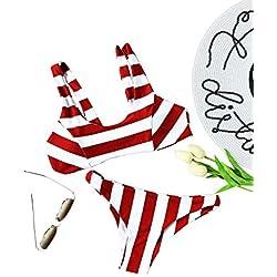 SOLY HUX Bikini Corto con Estampado de Rayas+2 PCS Traje de Baño 2018 Verano