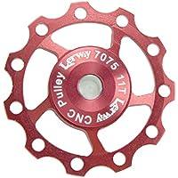 Lerway A-06 Rueda Desviador Cambio Trasero Polea, 2 Pcs 11T Aluminio Aleación Guía Rodillo de Bicicleta de montaña (rojo)
