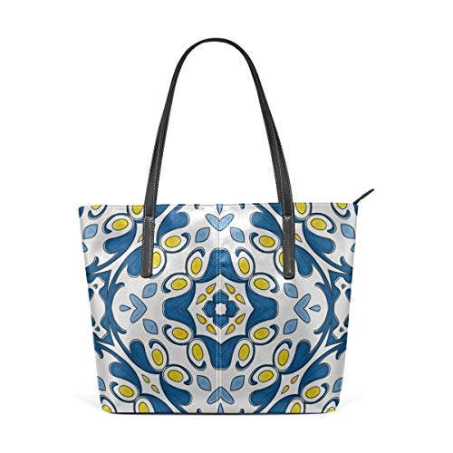 Mode Handtaschen Einkaufstasche Top Griff Umhängetaschen Yellow And Blue Design Print Large Printed Shoulder Bags Handbag Pu Leather Top Handle Satchel Purse Lightweight Work Tote Bag For Women Girls -
