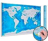 XXL Weltkarte Zum Rubbeln In 3 Farben Mit Rubbelchip (81,5 x 57,5 cm) - Langlebige Scratch Off Map Ohne Knittern - Weltkarte Rubbelkarte Blau