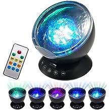 SOLMORE Lámpara de Proyector LED de Océano 7 Modos Luz de nocturna la de Mini Reproductor de Música para Niños Casa Fiesta Noche para dormitorio de niños, regalos de la Navidad