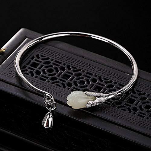 QINQIN S925 Sterling Silber natürliche WADA Jade weiße Magnolie Blume Retro einfache Damen offen Armband Armband eingelegt