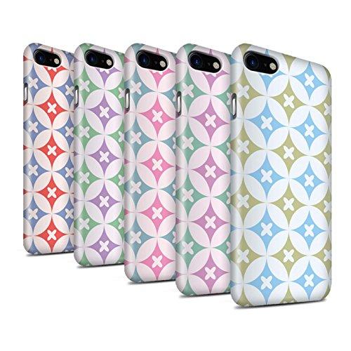 STUFF4 Glanz Snap-On Hülle / Case für Apple iPhone 8 / Pink / Grün Muster / Kaleidoskop Kollektion Multipack
