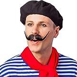 Barett Mütze Franzose - schwarz - Franzosenmütze Kopfbedeckung Französin Franzosenhut Kostümzubehör Karneval Baskenmütze