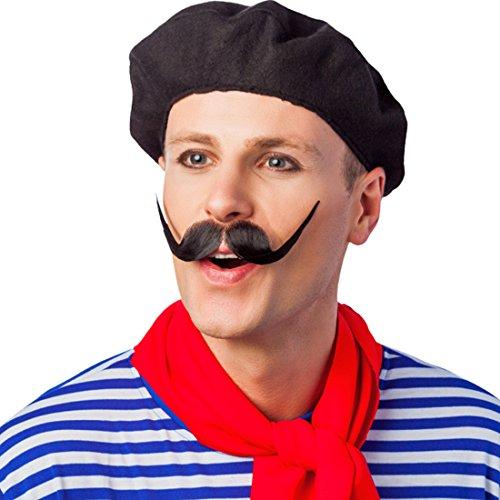 Kostüm Französin - NET TOYS Baskenmütze Barett Mütze Franzose schwarz Franzosenmütze Franzosenhut