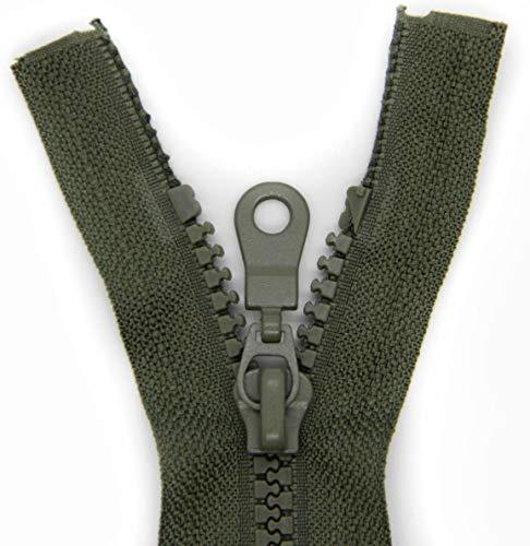 NTS Nähtechnik 1 Reißverschluss aus Kunststoff, Krampe, teilbar (Khaki, 80 cm)