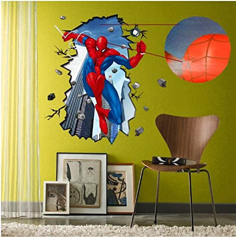 Sumlake 3D Effect Scene Spiderman The Amazing Spider-Man Room Wall Art Stickers Decal for Home Decor Decoration by Topro