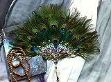 dollbling Luxus Strass handgefertigt Pfauenfeder Fan 1