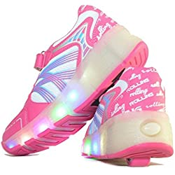 Usay like Envio 24H Zapatillas con Ruedas Color Rosa Para Niña Chica Talla 30 Hasta 38 Envio Desde España (EU36, Rosa)