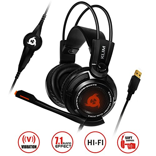 KLIM Puma – Auriculares Gaming con micro de diadema – sonido envolvente 7.1 – Audio de alta calidad – Vibración integrada – Negros, perfectos para jugar en el PC