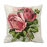 Vintage Art Antique Roses Pillow Case Comfortable Pillow Cover for Sleeping for Couch 18 x 18