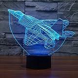 3D LED Nachtlicht Flugzeug Modell,DINOWIN 3D Optische Illusions-Lampen Touch Tischlampe Haus Dekoration 7 Farben Einzigartige Lichteffekte,Best Kinder Geschenk (Flugzeug)