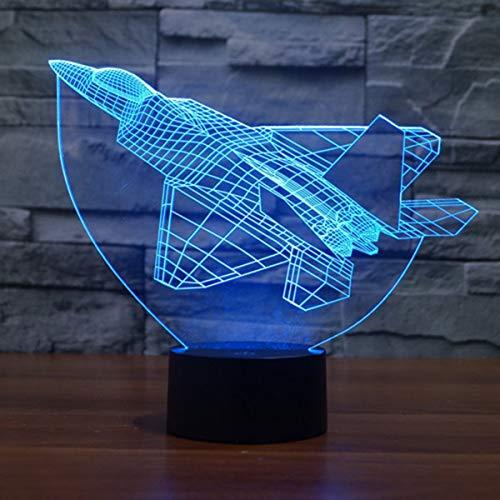 DINOWIN Lámpara de Ilusión Óptica 3D Luces de la noche del LED, 7 colores Cambio de Botón Táctil USB Lámpara de Mesa Para la Decoración de la Habitación de Los Niños (Avión)