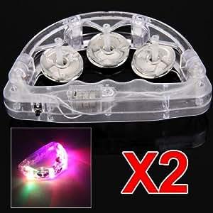 2PCS Flashing Light LED TAMBOURINE for Fun KTV Party Dancing