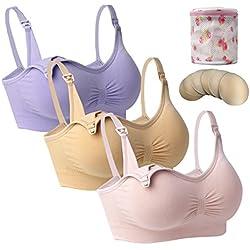 3-er Damen Still-BH Schwangerschaft Still BHS ohne Bügel Nahtlose Umstandsmode Unterwäsche M