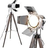 Jago Stehlampe Vintage Tripod höhenverstellbar mit Stativ in Holzfarbe Retro 360 Grad drehbar, A++ bis E | Stehleuchte, Standleuchte, Studiolampe