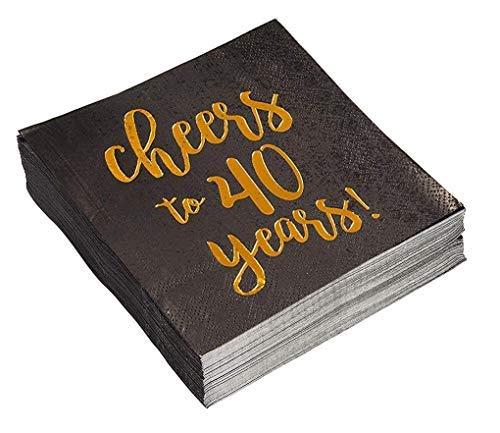 Cocktail Servietten, Amtsheftung Servietten, Einweg Papier Servietten Party Vorräte für Geburtstag, Jahrestag, 3-lagig, Cheers To 40Jahren Design, sich 25,4x 25,4cm, gefaltet 12,7x 12,7cm