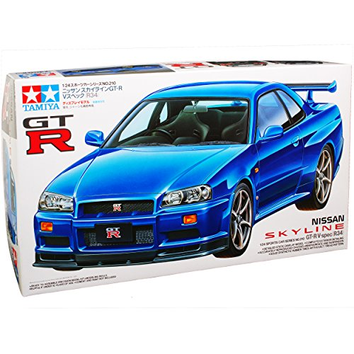 R34-modell-kit Gtr (Nissan Skyline R34 GT-R V-Spec Coupe Blau 1998-2002 24210 Kit Bausatz 1/24 Tamiya Modell Auto mit individiuellem Wunschkennzeichen)
