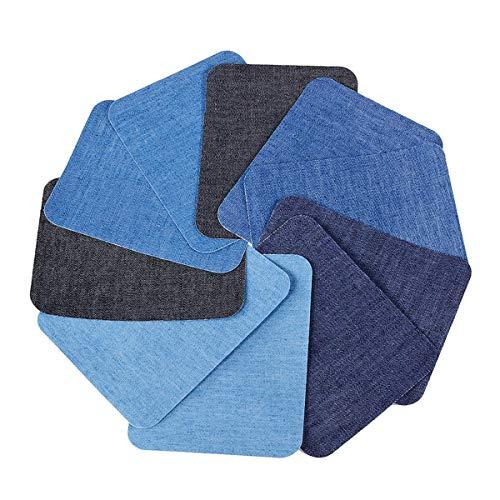 Patches zum Aufbügeln,TankerStreet 10 Stück Aufbügelflicken Bügelflicken Baumwolle Bügeleisen Denim Patches Jeans Reparatursatz Kit Retro Dekoration für Kleidung Verschiedene Farben Blau Schwarz