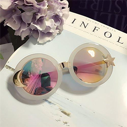 Sunyan Europäische und Amerikanische Persönlichkeit neue Sonnenbrillen Mode, was die roten Sterne, Mond, transparente Gläser Sonnenbrille m Cool Red toner Chip