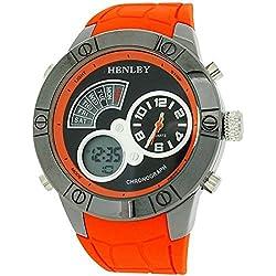 Henley digitaler Chronograph und Wecker LCD, orange Gummiarmband