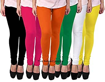 PIXIE lets work together! Women's Leggings, Free Size (Black, White, Orange, Green, Pink and Yellow, PCLCOMBO6-6) - Pack of 6