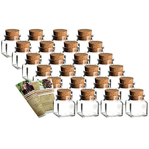 """gouveo 24er Set Gewürzgläser """"Quadrat 120"""" incl. Flaschendiscount-Rezeptbroschüre, Ideal für Gastgeschenke, Korkengläser, Glasdose, Aufbewahrungsglas, Korkenglas eckig (24er Set)"""