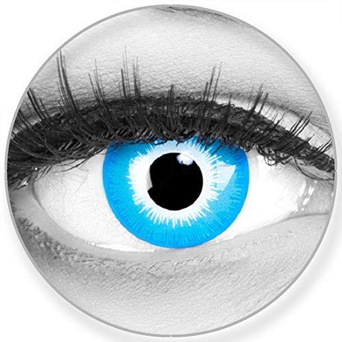 Funnylens Farbige blaue Kontaktlinsen Blue Elf - weich ohne Stärke 2er Pack + gratis Behälter - 12 Monatslinsen - perfekt zu Halloween Karneval Fasching oder Fasnacht