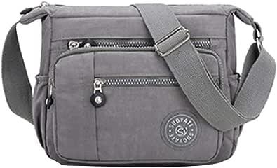 Borsa a tracolla da donna, multi tasca, casual, per shopping, viaggi, escursioni, uso quotidiano