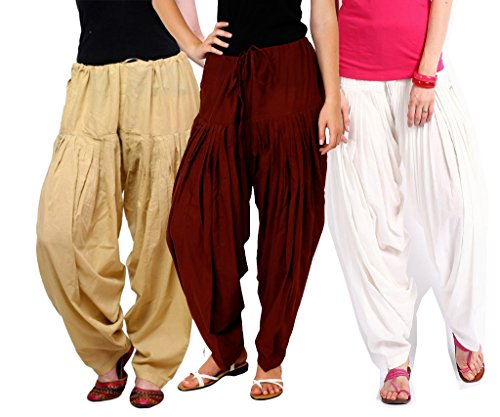 Luvcare 100% Pure Cotton Patiala Salwar For Womens(Beige, Brown And White)