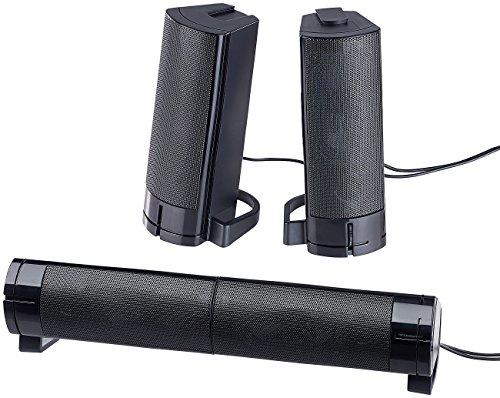 auvisio Lautsprecher für Laptop: 2in1-PC-Stereo-Lautsprecher und Soundbar, 10 Watt, USB-Stromversorgung (Lautsprecher für Computer)