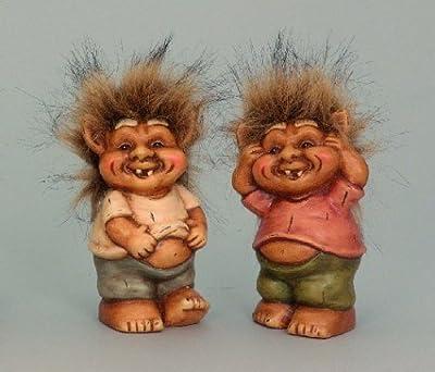 2 Gnome mit strubbel Haaren Figuren Zwerge 16cm Trolle