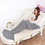 Filato Maglia Sirena coda coperta letto coperta copriletto handmade uncinetto sirena, per adulti e bambini, Super morbido Sacco a pelo, Gray, Adult 195*90 cm