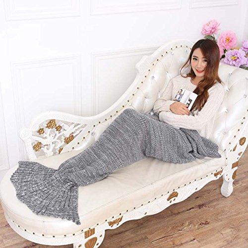 Sirena coda coperta, K.MAX a mano a maglia Crochet divano Quilt coperto coperta vivono in camera tutte le stagioni Sleeping Mermaid coperta per adulti e bambini, sacco a pelo 205cmx95cm Grigio