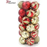 Valery Madelyn 30ct Luxury Red And Gold Shatterproof Christmas Ball Ornaments,60mm/2.36inch,30 Hooks Included