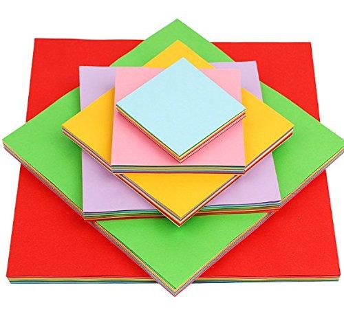 Origami Papier 600 Blätter Bastelpapier geschnittene Faltpapier 7 10 13 15 20 25cm doppelseite 10 färbige Bastelpapier Set für Origami und Bastelprojekte inkl Farben Grün Blau Lila Rot Gelb Pink -