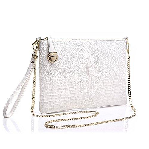SHINGING KIDS Krokodil Muster Diagonal Schulter Großraum Leder Handtaschen Clutch Bag Chain Bag,White