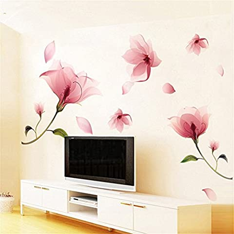 Rainbow Fox Pink Lily Orchid Magnolia Flower Wall Sticker Decor Decal Art WallPaper Bathroom Removable Home Kid Living Room Bedroom