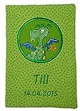 Grüne U-Heft Hülle * mit Fach für Impfpass * mit Wunschnamen bestickt