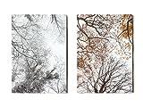 Beau carnet de note original A5 : lot de 2 carnets papeterie Arbres automne et hiver - 64 pages blanches