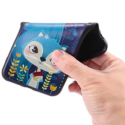 Hülle für iPhone 6 plus/6s Plus, Schwarz Silikon Schutzhülle für iPhone 6 plus/6s Plus Case TPU Bumper Handyhülle, Cozy Hut ® [Thin Fit] [Schock Absorption] Soft Flex Silikon Schlanke Hülle [Schwarz]  Blaue Eichhörnchen
