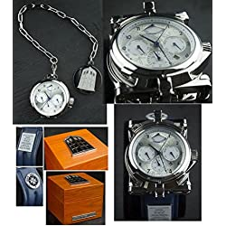 Doctor Who Men's Mechanical Chronograph Display Watch with Silver Dial and Blue Leather Strap DR304